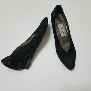 8 Black Velvety Bally Wedge Shoes